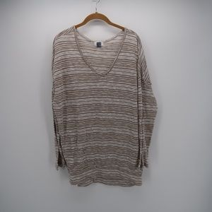 Old Navy Striped V-Neck Long Sleeve T-Shirt Top